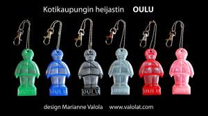 Oulu-heijastimet Oulussa myy Oulun Sokos sekä Oulun seudun Prismat. Minulta Oulu-heijastimet etäoululaisille 7 e/kpl. Musta, punainen, sininen, oranssi, vaalea turkoosi